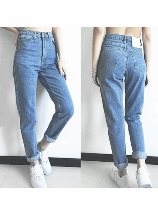 Light Blue Pockets High Waisted Boyfriend 90's jeans Vintage Mom Jeans Cheap - Jeans - Bottoms