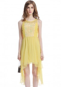 Yellow Flowers Patchwork Embroidery Swallowtail Dress