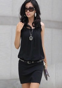 Black Plain Pleated U-neck Sleeveless Chiffon Dress