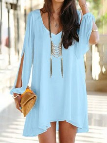 Sky Blue Plain Irregular Split Sleeve V-neck Chiffon Dress