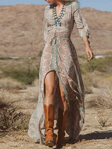 Multicolor Floral Print Sashes V-neck Seven's Sleeve High-Low Maxi Dress