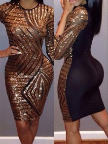 Golden-Black Patchwork Sequin Round Neck Half Sleeve Bodycon Sexy Midi Dress