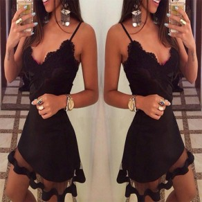 Black Patchwork Lace Grenadine Plunging Neckline Sleeveless Mini Dress
