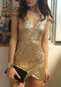 Golden Plain Irregular Sequin Decorated V-neck Short Sleeve Fashion Mini Dress
