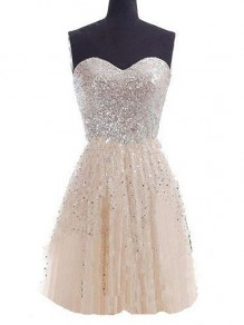 Champagne Patchwork Sequin Pleated Zipper Bandeau Mini Dress