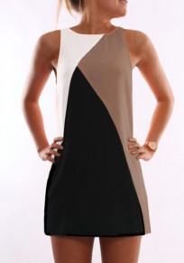 Khaki Color Block Casual Round Neck Sleeveless Mini Dress