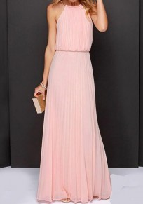 Pink Plain Pleated Sleeveless Party Chiffon Maxi Dress