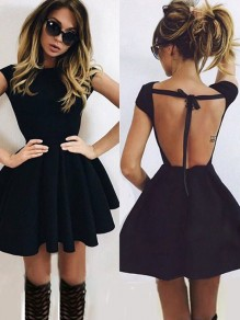 Black Plain Pleated Tie Back Backless Short Sleeve Mini Dress
