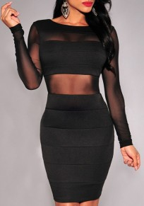 Black Patchwork Grenadine See-Through Backless Sexy Bodycon Dress