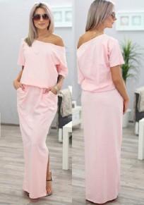 Maxi abito pianura tasche laterali girocollo rosa