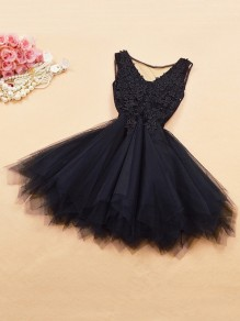 Black Patchwork Lace Grenadine Irregular Bridesmaid Mini Dress
