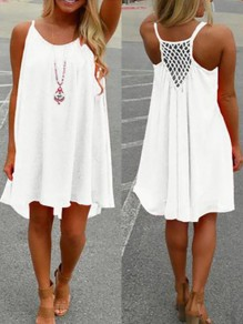 White Hollow-out Pleated Condole Belt Round Neck Casual Midi Dress