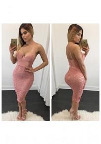 Vestito midi club di cinghia di spaghetti del profondo v-collo del merletto rosa
