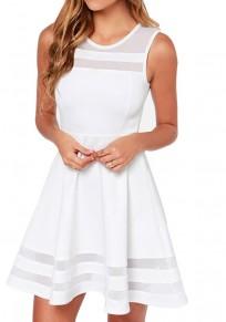 Mini abito grenadina drappeggiata rotondo casuale bianco