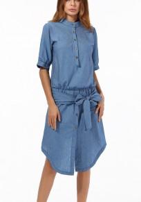 Midi vestito petto manicotto irregolare del gomito del manicotto del fiocco di arco azzurro