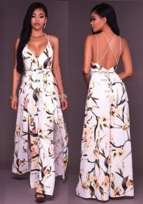 Vestito da maxi stampa di fiori schiena incrociata cinturino in cotone spaghetti senza schienale bianco