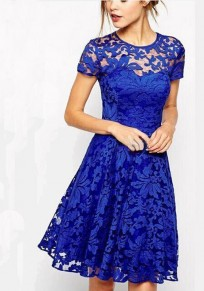 Blue Floral Lace Grenadine Round Neck Classic Midi Dress