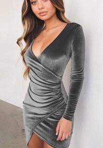 Mini abito semplice scollo av pieghettato A pieghe irregolari grigio