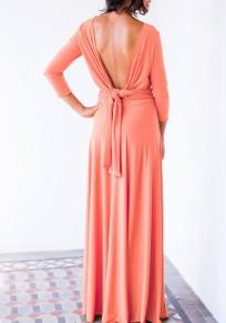 Maxi vestito tagliati senza schienale drappeggiato manica lunga cocktail partito elegante rosa