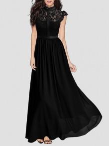 70e9e3909ef7 Maxi dress elegante chiffona di pizzo cocktail drappeggiato con zip in  pizzo nero