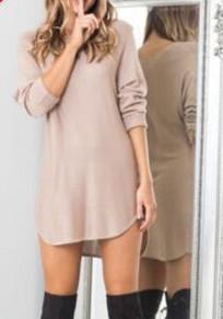 Mini abito irregolare alto-basso girocollo manica lunga kaki
