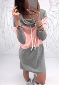 Grey Pink Patchwork Print Drawstring Ruffle Collar Fashion Mini Dress