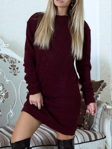 Wine Red Patchwork Lace Round Neck Long Sleeve Mini Dress