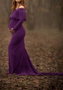 Abito lungo volant sulla spalla manica lunga elegante maternità viola