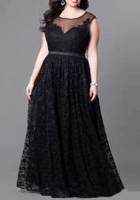 Black Patchwork Floral Lace High Waisted Plus Size Elegant Cocktail Prom Maxi Dress