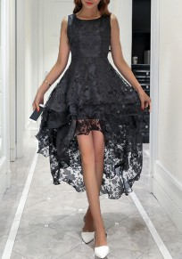 Black Lace Pleated Swallowtail High-Low Homecoming Party Sweet Cute Maxi Dress