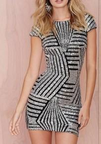Mini abito paillettes geometriche senza schienale maniche corte girocollo moda argento