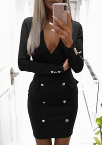 Black Plain Studded V-neck Long Sleeve Fashion Mini Dress