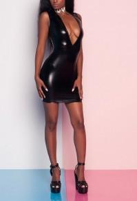 Mini vestito cocktail partito club con chiusura A zip in lattice A scollo profondo nero