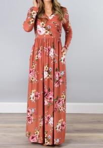 Maxi dress tasche A fiori con v-collo manica lunga casuale nacarat