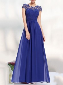Sapphire Blue Patchwork Lace Cut Out Backless Draped Elegant Chiffon Prom Maxi Dress