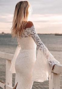 Abito longuette scollo A barca in pizzo floreale fashion bianco