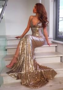 Maxi dress festa in banchetto con v-collo E v-collo con spalline laterali in paillettes dorata