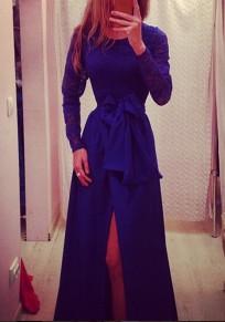 Maxi abito fasce di pizzo drappeggiate drappeggio A vita alta elegante festa banchetto viola