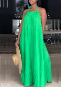 Green Draped Halter Neck Backless Ruched Flowy Beachwear Bohemian Party Maxi Dress