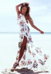 Maxi vestito fasce tagliate floreali moda bianco