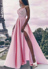 Pink Lace Draped Side Slit Spaghetti Strap V-neck Formal Elegant Party Maxi Dress