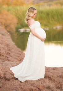 Maxi abito balza in pizzo drappeggiato di maternità spalla per la festa elegante babyshower bianco