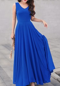 Maxi dress elegante v-colloelo drappeggiato con v-collo scollato in chiffona blu