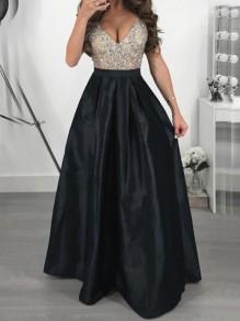 Maxi dress paillettes con paillettes v-collo v-collo elegante festa di laurea nero