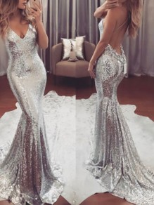 Silver Sequin Mermaid Spaghetti Strap Backless Deep V-neck Elegant Prom Party Maxi Dress