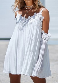White Patchwork Lace Spaghetti Strap Flare Sleeve V-neck Sweet Party Mini Dress