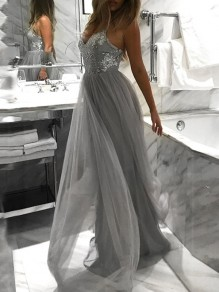 Grey Spaghetti Strap Sequin Grenadine High Waisted Elegant Graduation Party Maxi Dress