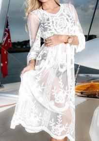 Vestito pizzo tagliato manica lunga dolce maternità bianco