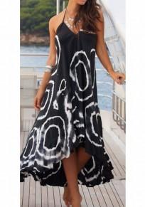 Maxi dress festa posteriore senza collo drappeggiata con stampa floreale nera