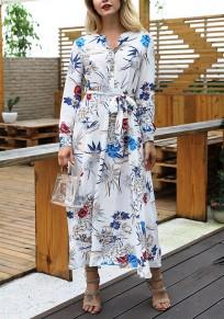 Maxi abito coppe floreali drappeggiate v-colloera bohémien partito elegante bianco